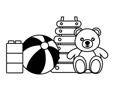 kids toys bear xylophone ball blocks vector illustration