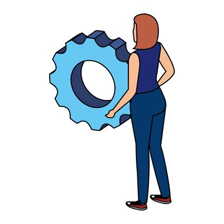 young woman lifting gear machine settings vector illustration design