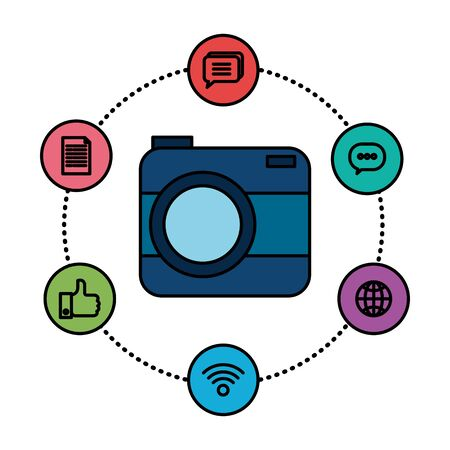 camera photographic with social media icons vector illustration design Imagens - 129361926