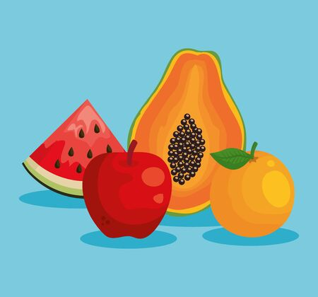 watermelon with pawpaw and apple with watermelon and orange fruit to healthy food vector illustration Banque d'images - 129361930