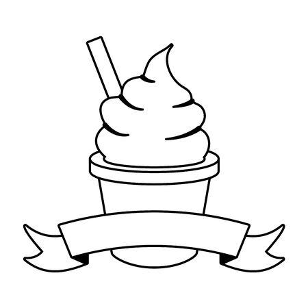 gelato con illustrazione vettoriale di contorno cucchiaio