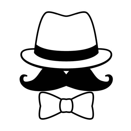 hipster hat mustache sunglasses bow tie vector illustration design