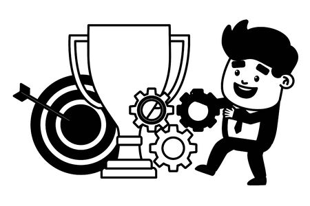 businessman trophy target arrow gears success vector illustration