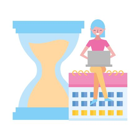 woman working laptop calendar clock hourglass vector illustration  イラスト・ベクター素材