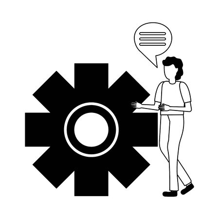businessman talking gear work vector illustration design