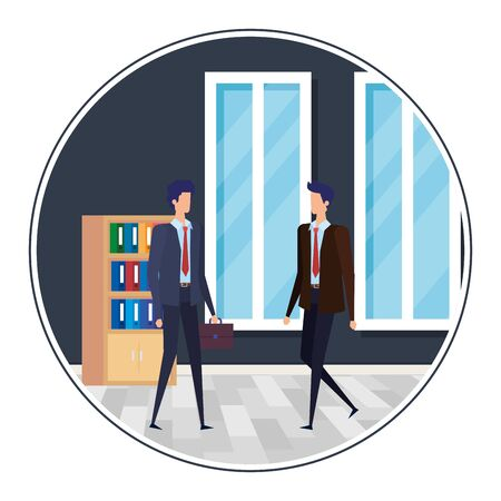 elegant businessmen in the workplace characters vector illustration design