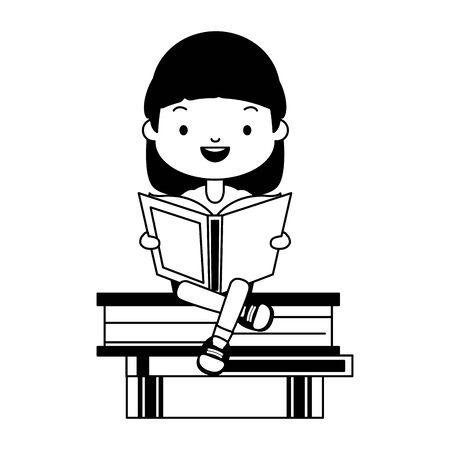 girl sitting books stacked world book day vector illustration Çizim