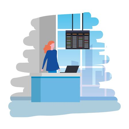 woman working in airport with computer vector illustration design  イラスト・ベクター素材