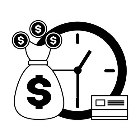 money bag bank card clock tax time payment vector illustration Ilustracja