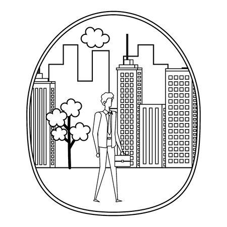 elegant young businessman on the city vector illustration design Фото со стока - 129272959