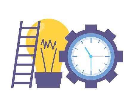work clock time bulb gear