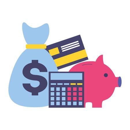 tax payment money bag piggy bank calculator vector illustration
