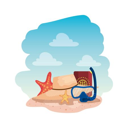 diving snorkel mask and passport with straw hat vector illustration design