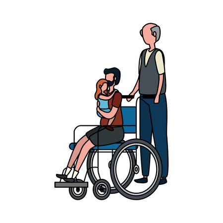 cute grandfather with son and grandddaughter in wheelchair vector illustration