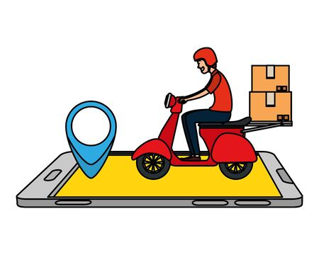 worker of delivery service in motorcycle with smartphone vector illustration design Stock Illustratie