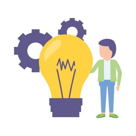 businessman bulb creativity gears work Иллюстрация