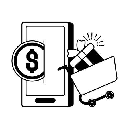 online shopping cart gift mobile money app vector illustration