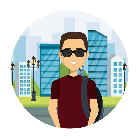young man with sunglasses in the street urban style vector illustration design Иллюстрация
