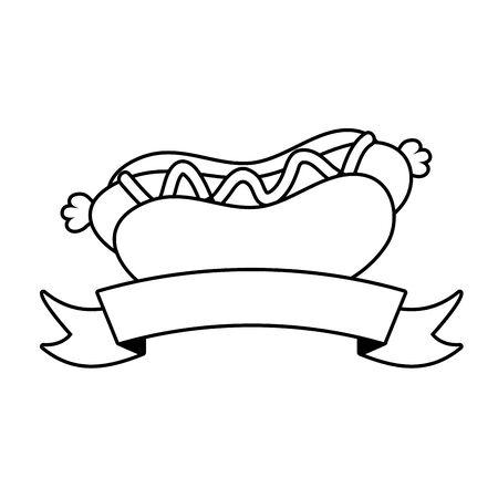 hot dog fast food ribbon on white background vector illustration Ilustracja