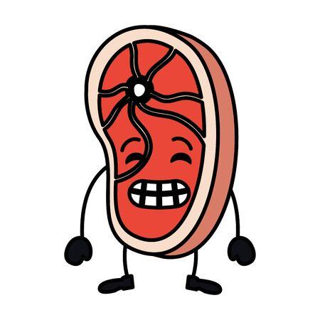 meat steak kawaii character vector illustration design