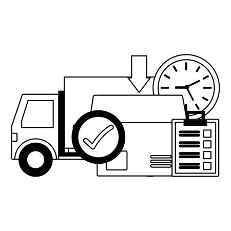 truck box clock clipboard check mark location pointer fast delivery business vector illustration
