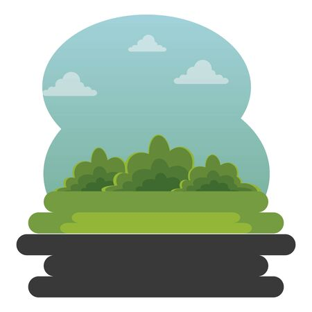park with nature bushes plants and clouds to urban cityscape vector illustration Фото со стока - 129273439