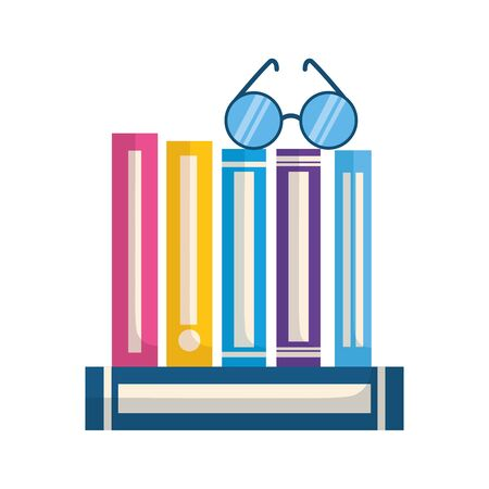 stack of books with lenses isolated icon vector illustration design Ilustração