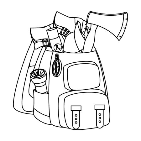 camping travel bag with equipment vector illustration design Ilustracja