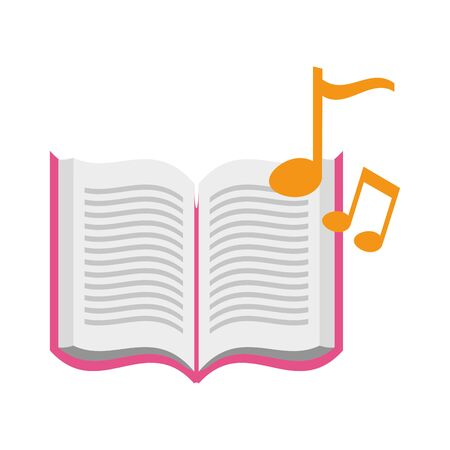 open book with musical notes icon vector illustration design Ilustração
