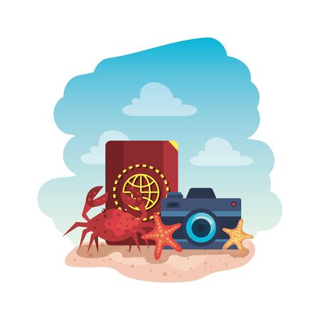 passport with camera photographic and crab vector illustration design Stock Illustratie