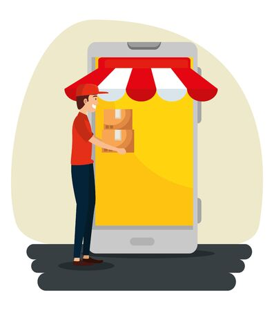 man with boxes packages and smartphone service to delivery distribution vector illustration Illustration