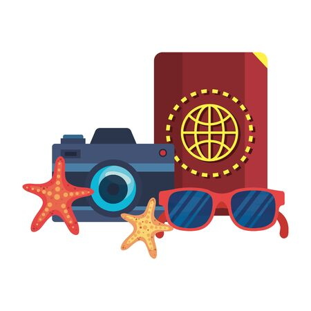 summer sunglasses and passport with camera vector illustration design