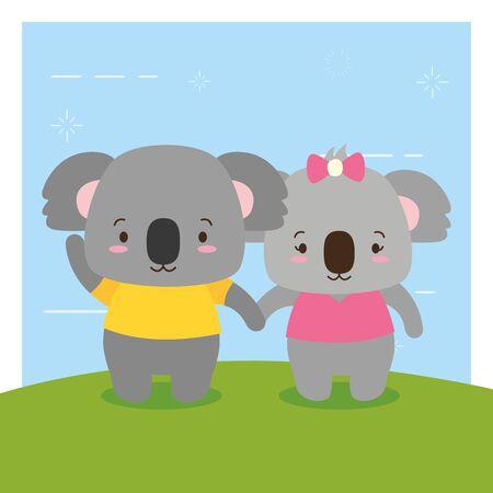 cute couple koala animal cartoon vector illustration design