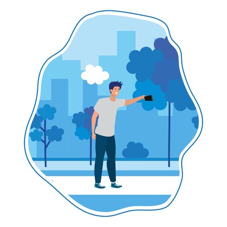 happy young man taking a selfie in the park vector illustration design Иллюстрация