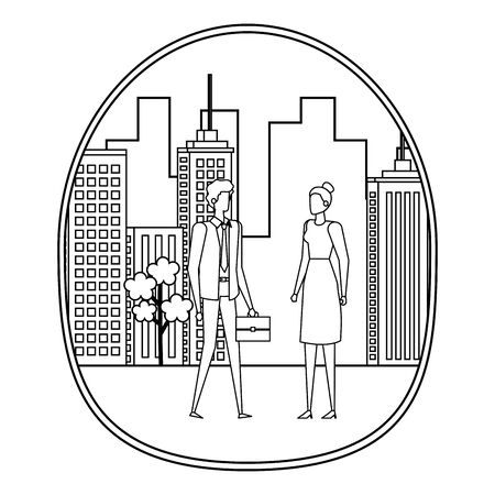 elegant young business couple on the city vector illustration design 写真素材 - 129273566