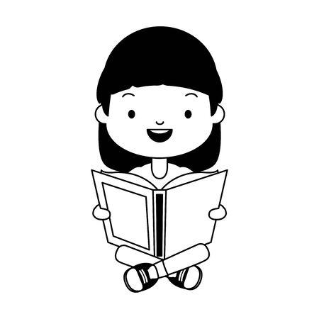 girl holding textbook - world book day vector illustration Çizim