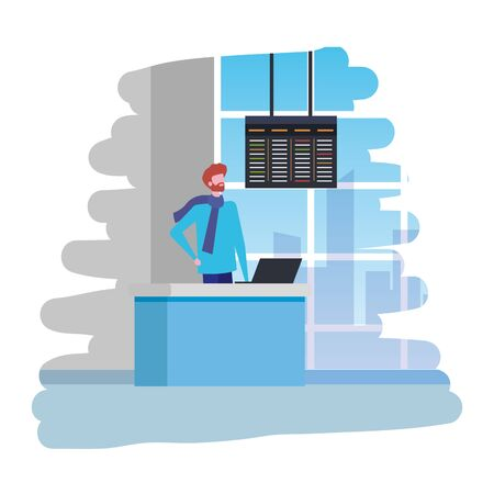 man working in airport with computer scene vector illustration design 写真素材 - 129273604