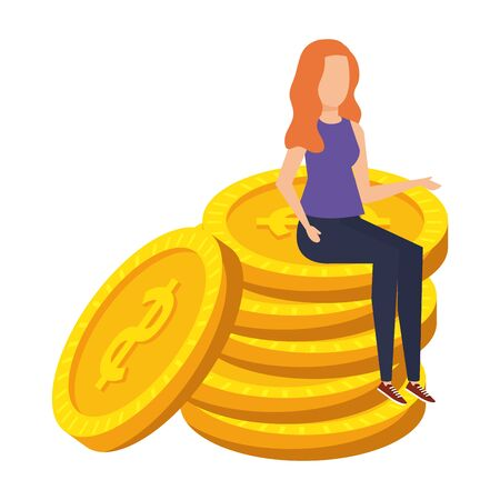young woman seated in coins cash money dollars vector illustration design Иллюстрация