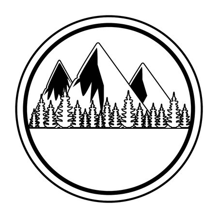 circular frame with forest and mountains zone vector illustration design 일러스트