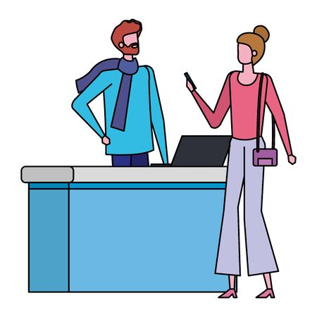man working in airport with woman traveler vector illustration design 写真素材 - 129273616
