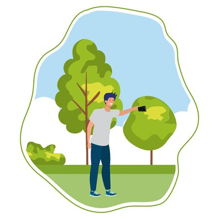 happy young man taking a selfie in the park vector illustration design 일러스트