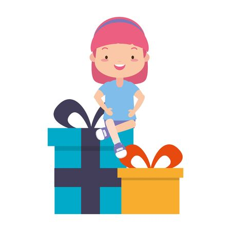 happy girl with gifts boxes vector illustration  イラスト・ベクター素材