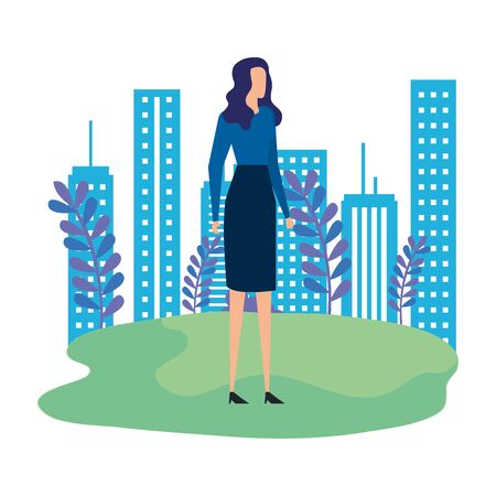 elegant businesswoman in the park scene vector illustration design Фото со стока - 129273635