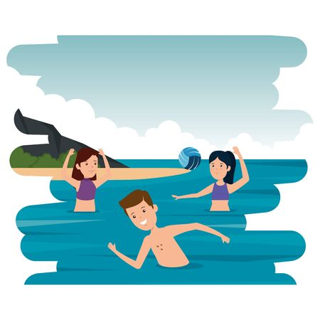 happy athletic people practicing volleyball in the sea vector illustration design