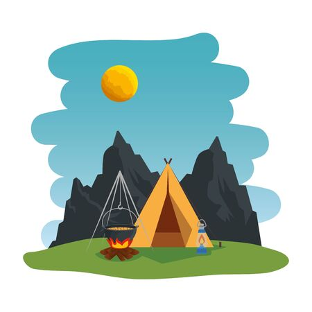 camping zone with camping tent and campfire scene vector illustration design