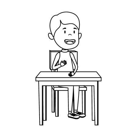 happy student boy seated in school desk vector illustration design Foto de archivo - 129273648