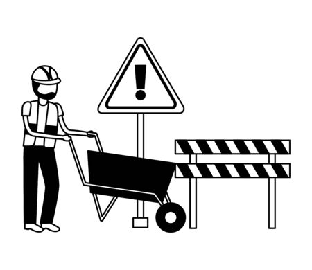 worker construction with wheelbarrow barrier tool vector illustration Stock fotó - 129273651
