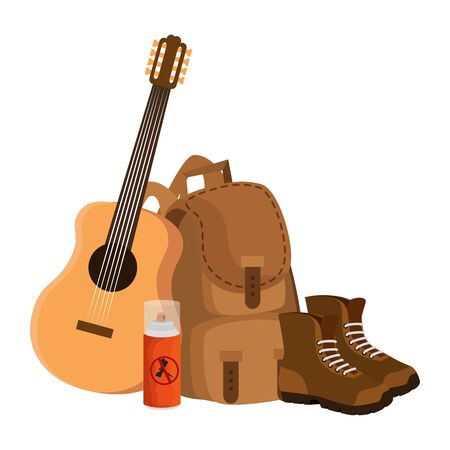 camping travel bag with guitar and boots vector illustration design Ilustracja