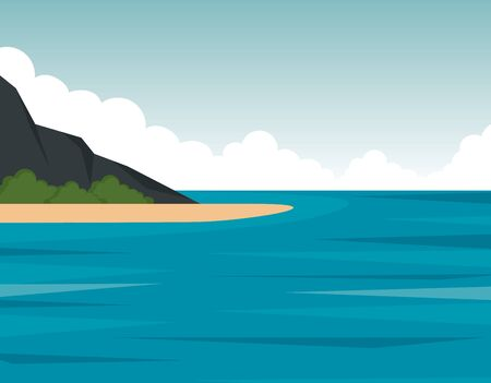 nature mountains with bushes plants and sea to landscape scenery vector illustration 일러스트