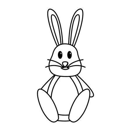 cute rabbit cartoon on white background vector illustration Иллюстрация